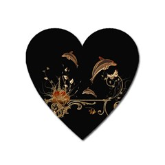 Wonderful Dolphins And Flowers, Golden Colors Heart Magnet by FantasyWorld7