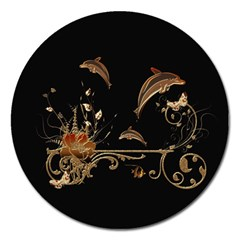 Wonderful Dolphins And Flowers, Golden Colors Magnet 5  (round) by FantasyWorld7