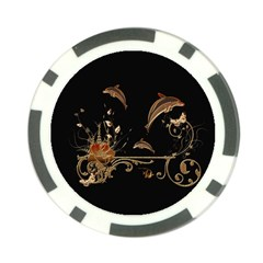 Wonderful Dolphins And Flowers, Golden Colors Poker Chip Card Guard (10 Pack) by FantasyWorld7