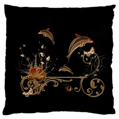 Wonderful Dolphins And Flowers, Golden Colors Large Flano Cushion Case (two Sides) by FantasyWorld7