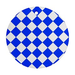 Blue White Diamonds Seamless Ornament (round) by Celenk