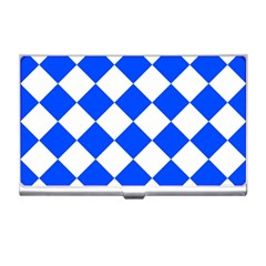 Blue White Diamonds Seamless Business Card Holders by Celenk
