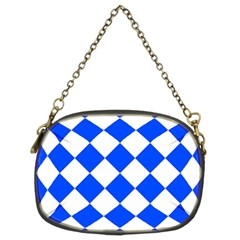 Blue White Diamonds Seamless Chain Purses (two Sides)