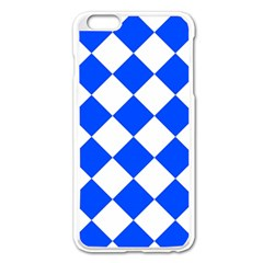 Blue White Diamonds Seamless Apple Iphone 6 Plus/6s Plus Enamel White Case by Celenk
