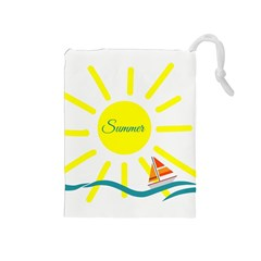 Summer Beach Holiday Holidays Sun Drawstring Pouches (medium)  by Celenk