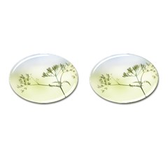 Spring Plant Nature Blue Green Cufflinks (oval)