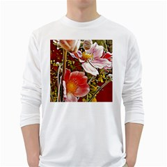 Flower Hostanamone Drawing Plant White Long Sleeve T-shirts by Celenk