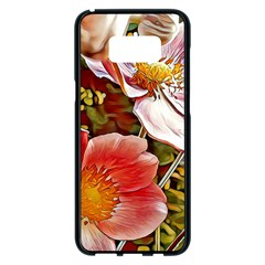 Flower Hostanamone Drawing Plant Samsung Galaxy S8 Plus Black Seamless Case