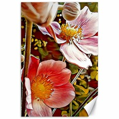 Flower Hostanamone Drawing Plant Canvas 24  X 36  by Celenk