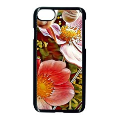Flower Hostanamone Drawing Plant Apple Iphone 8 Seamless Case (black) by Celenk