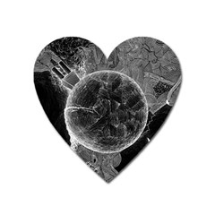 Space Universe Earth Rocket Heart Magnet by Celenk