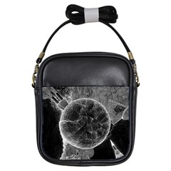 Space Universe Earth Rocket Girls Sling Bags by Celenk