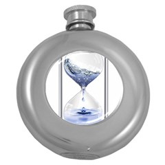 Time Water Movement Drop Of Water Round Hip Flask (5 Oz) by Celenk