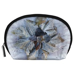 Winter Frost Ice Sheet Leaves Accessory Pouches (large)  by Celenk