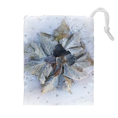 Winter Frost Ice Sheet Leaves Drawstring Pouches (extra Large) by Celenk