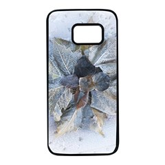 Winter Frost Ice Sheet Leaves Samsung Galaxy S7 Black Seamless Case by Celenk