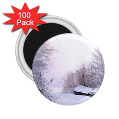 Winter Snow Ice Freezing Frozen 2 25  Magnets (100 Pack)  by Celenk