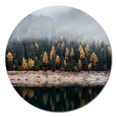 Trees Plants Nature Forests Lake Magnet 5  (round)