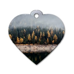 Trees Plants Nature Forests Lake Dog Tag Heart (one Side) by Celenk