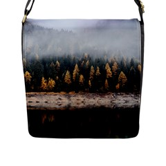 Trees Plants Nature Forests Lake Flap Messenger Bag (l)  by Celenk