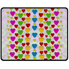 So Sweet And Hearty As Love Can Be Double Sided Fleece Blanket (medium)  by pepitasart