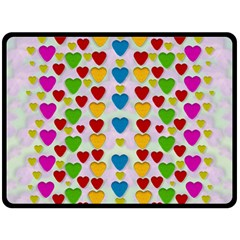 So Sweet And Hearty As Love Can Be Double Sided Fleece Blanket (large)  by pepitasart