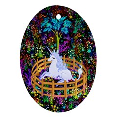 The Last Unicorn In Captivity Oval Ornament