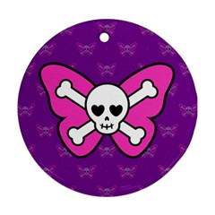 Cute Butterfly Skull Round Ornament