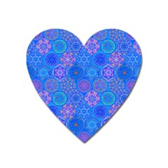 Geometric Hand Drawing Pattern Blue  Heart Magnet by Cveti