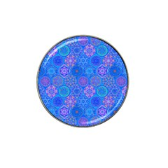 Geometric Hand Drawing Pattern Blue  Hat Clip Ball Marker by Cveti