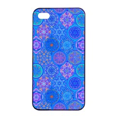 Geometric Hand Drawing Pattern Blue  Apple Iphone 4/4s Seamless Case (black) by Cveti