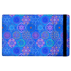 Geometric Hand Drawing Pattern Blue  Apple Ipad 3/4 Flip Case by Cveti