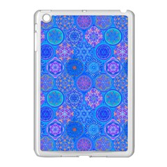 Geometric Hand Drawing Pattern Blue  Apple Ipad Mini Case (white) by Cveti