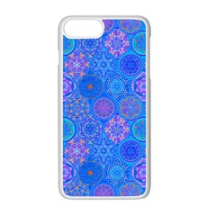 Geometric Hand Drawing Pattern Blue  Apple Iphone 7 Plus Seamless Case (white) by Cveti