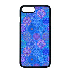 Geometric Hand Drawing Pattern Blue  Apple Iphone 8 Plus Seamless Case (black)