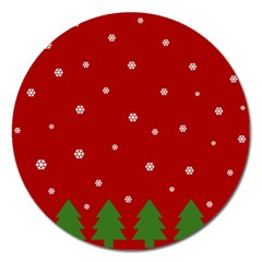 Christmas Pattern Magnet 5  (round) by Valentinaart