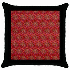 Whirligig Pattern Hand Drawing Orange 01 Throw Pillow Case (black) by Cveti