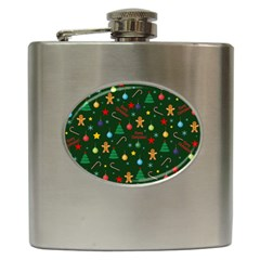 Christmas Pattern Hip Flask (6 Oz) by Valentinaart