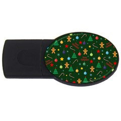 Christmas Pattern Usb Flash Drive Oval (2 Gb) by Valentinaart