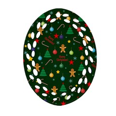 Christmas Pattern Ornament (oval Filigree) by Valentinaart