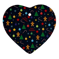 Christmas Pattern Heart Ornament (two Sides)