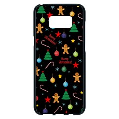 Christmas Pattern Samsung Galaxy S8 Plus Black Seamless Case by Valentinaart