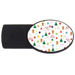 Christmas Pattern Usb Flash Drive Oval (4 Gb) by Valentinaart