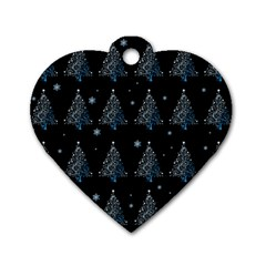 Christmas Tree   Pattern Dog Tag Heart (two Sides)
