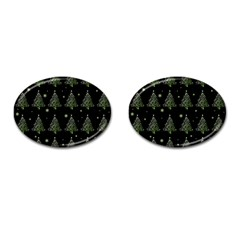 Christmas Tree   Pattern Cufflinks (oval)