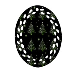 Christmas Tree   Pattern Oval Filigree Ornament (two Sides) by Valentinaart