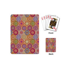 Bohemian Pattern Eye Orange Playing Cards (mini)  by Cveti