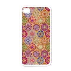 Bohemian Pattern Eye Orange Apple Iphone 4 Case (white) by Cveti