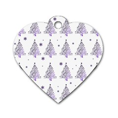 Christmas Tree   Pattern Dog Tag Heart (one Side)