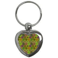 Bohemian Hand Drawing Patterns Green 01 Key Chains (heart)  by Cveti